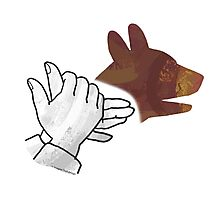 Hand Silhouette Dog Brown Photographic Print