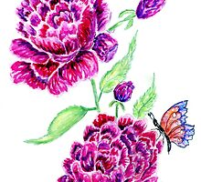 Flowers and Butterfly 2 by AnnArtshock