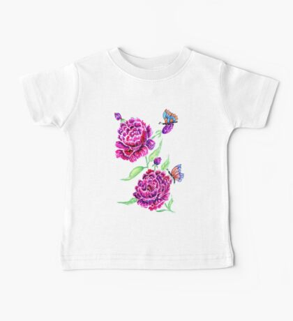 Flowers and Butterfly 2 Baby Tee