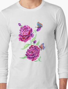 Flowers and Butterfly 2 Long Sleeve T-Shirt