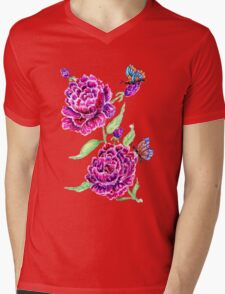 Flowers and Butterfly 2 Mens V-Neck T-Shirt