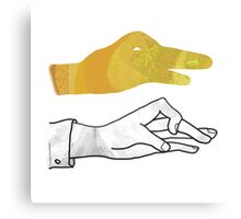 Hand Silhouette Duck Yellow Canvas Print