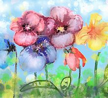 Pansies Flowers fantasy by Natalja Picugina