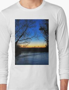 Silhouetted trees at sunset creek. Long Sleeve T-Shirt