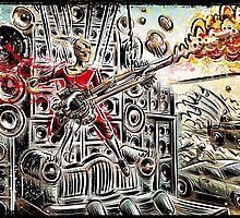 Doof Warrior, Mad Max, Art, Guitar Player, guitar, flame guitar, flame, fury road, joe badon by Joe Badon
