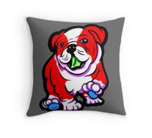 Happy Bulldog Puppy Red and White  Throw Pillow