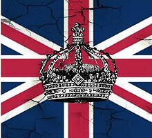 British union jack flag jubilee vintage crown  by lfang77