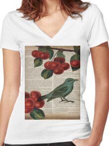 shabby chic hipster teal bird botanical cherry  Women's Fitted V-Neck T-Shirt