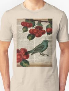 shabby chic hipster teal bird botanical cherry  Unisex T-Shirt