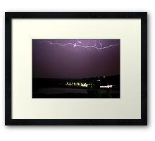 Lightning over lodge Framed Print