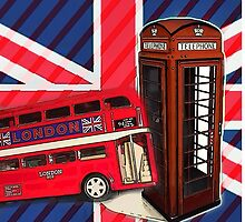 union jack london bus vintage red telephone booth by lfang77