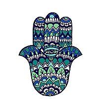 Hamsa Hand: Blue/Green Photographic Print