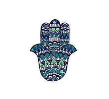 Hamsa Hand: Blue/Green by MRLdesigns