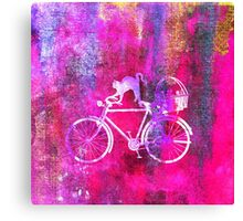 Cat and Bicycle W Canvas Print