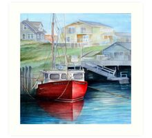 Peggy's Cove Red Boat Art Print