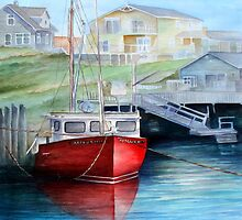 Peggy's Cove Red Boat by Rosie Brown