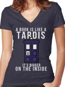 """A book is like a Tardis, it's bigger on the inside"" Women's Fitted V-Neck T-Shirt"