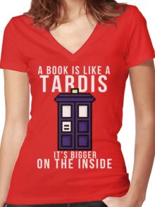 """""""A book is like a Tardis, it's bigger on the inside"""" Women's Fitted V-Neck T-Shirt"""