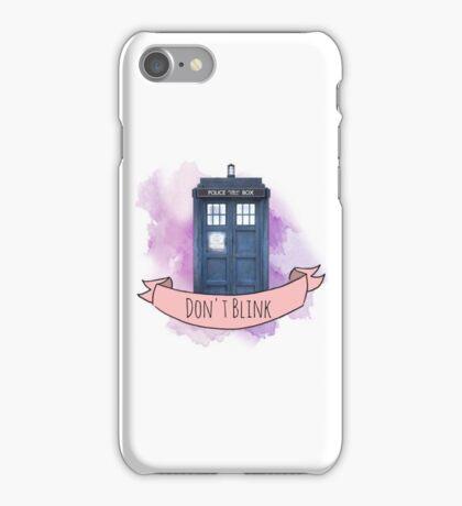 """TARDIS """"don't blink"""" iPhone Case/Skin"""