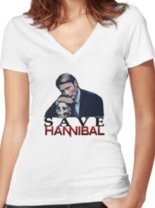 Save Hannibal Women's Fitted V-Neck T-Shirt
