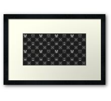 Kingdom Hearts logos pattern black Framed Print