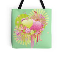 Neon patterned hearts Tote Bag