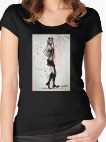 Twiggy, Art, decor, illustration, drawing, poster, print, model, leslie lawson, joe badon Women's Fitted Scoop T-Shirt