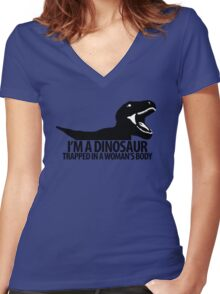 Dinosaur on the inside (For the ladies) Women's Fitted V-Neck T-Shirt