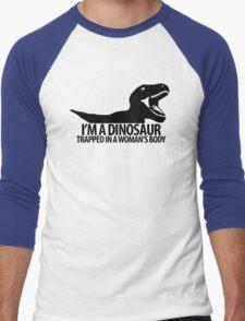 Dinosaur on the inside (For the ladies) Men's Baseball ¾ T-Shirt