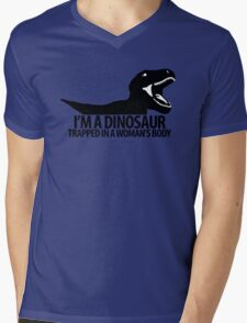 Dinosaur on the inside (For the ladies) Mens V-Neck T-Shirt
