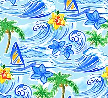 Hawaiian waves pattern and Summer t-shirt by PaulMalyugin