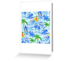 Hawaiian waves pattern and Summer t-shirt Greeting Card