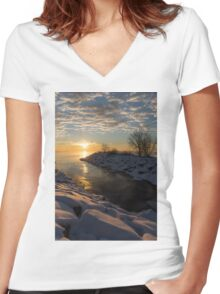 Sunshine on the Ice - Lake Ontario, Toronto, Canada Women's Fitted V-Neck T-Shirt