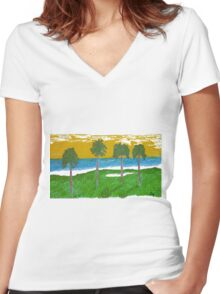Palm Trees Golf Course Ocean Women's Fitted V-Neck T-Shirt
