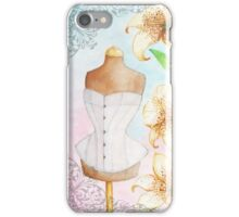 Fashion illustration victorian corset on mannequin and lilies iPhone Case/Skin