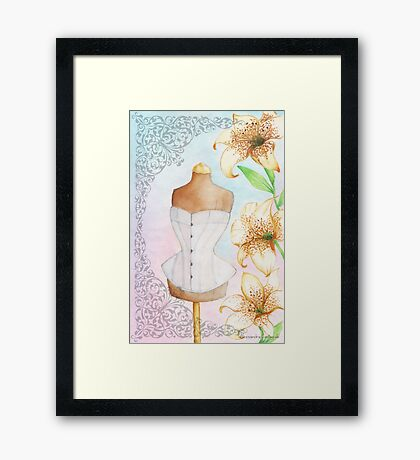 Fashion illustration victorian corset on mannequin and lilies Framed Print