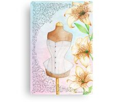 Fashion illustration victorian corset on mannequin and lilies Canvas Print