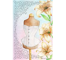 Fashion illustration victorian corset on mannequin and lilies Photographic Print