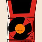 ROCK and ROLL Retro Vintage Record Player Phonograph by G. Allen Black