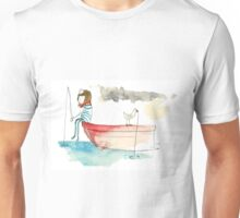 Sailing Girl Fishing  Unisex T-Shirt