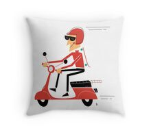 Skater on a scooter Throw Pillow