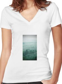 abstract hilly landscape Women's Fitted V-Neck T-Shirt