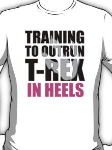 Outrun a T-rex - Black text T-Shirt