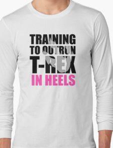 Outrun a T-rex - Black text Long Sleeve T-Shirt