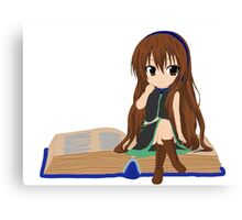 Nerdy Chibi With A Book  Canvas Print