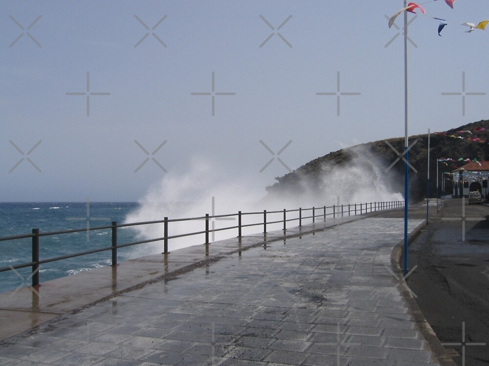 Spray Splashing over Promenade by Avril Harris