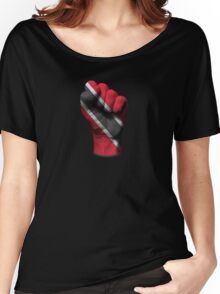 Flag of Trinidad and Tobago on a Raised Clenched Fist  Women's Relaxed Fit T-Shirt