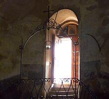 Light Streams in From Open Door by Lucinda Walter