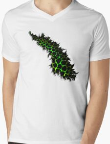 Green and Yellow Leopard Print Ripped Tear Design  Mens V-Neck T-Shirt