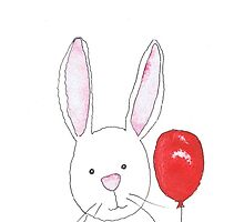 RABBIT WITH BALLOON by Hares & Critters